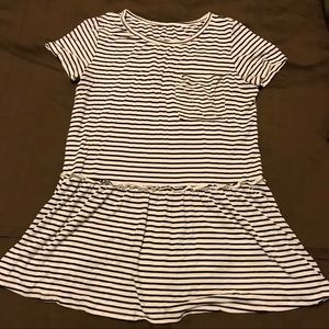 Tops - Black & white stripe peplum tee